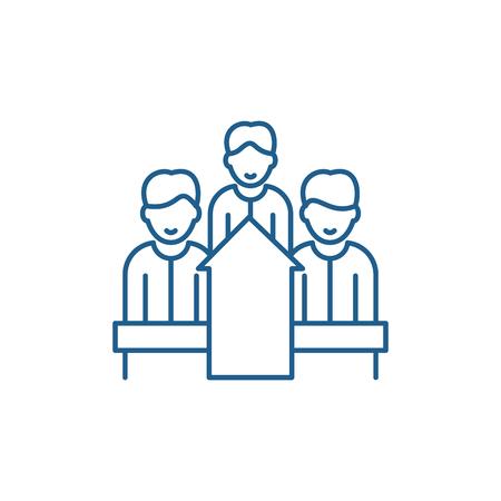 Staff motivation line concept icon. Staff motivation flat  vector website sign, outline symbol, illustration.