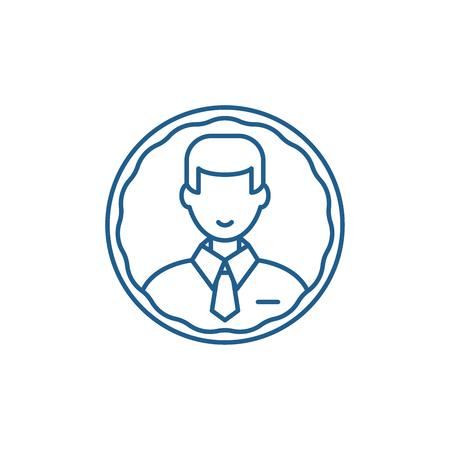 Staff profile line concept icon. Staff profile flat  vector website sign, outline symbol, illustration.