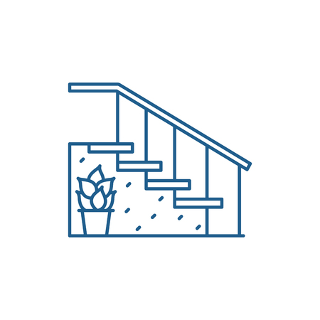 Staircase at the entrance line concept icon. Staircase at the entrance flat  vector website sign, outline symbol, illustration. Illustration