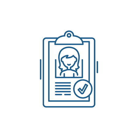 Status approved line concept icon. Status approved flat  vector website sign, outline symbol, illustration.