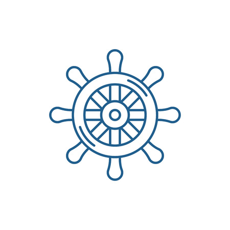 Steering wheel line concept icon. Steering wheel flat  vector website sign, outline symbol, illustration. Ilustracja