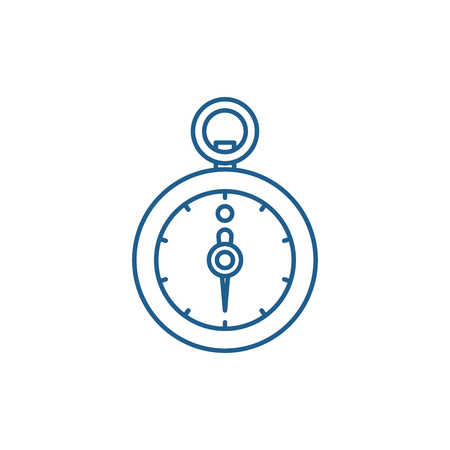 Stopwatch line concept icon. Stopwatch flat  vector website sign, outline symbol, illustration. Illustration
