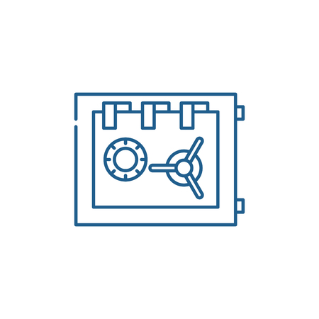 Storage in the safe line concept icon. Storage in the safe flat  vector website sign, outline symbol, illustration. Stock Illustratie