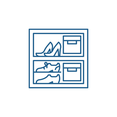 Storage of things line concept icon. Storage of things flat  vector website sign, outline symbol, illustration. Illustration