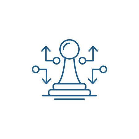 Icône de concept de ligne de mouvement stratégique. Signe de site Web de vecteur plat de mouvement stratégique, symbole de contour, illustration.