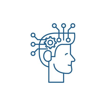 Strategic thinking line concept icon. Strategic thinking flat  vector website sign, outline symbol, illustration.