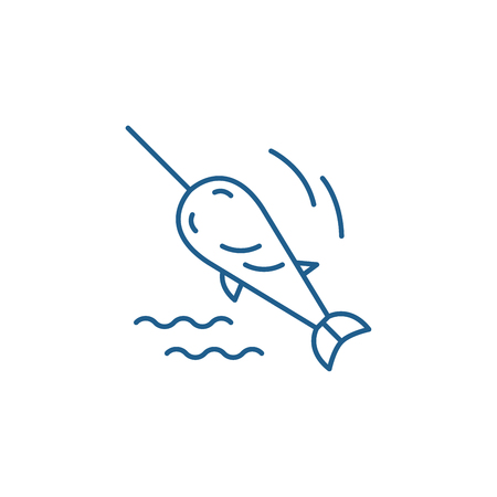 Swordfish line concept icon. Swordfish flat  vector website sign, outline symbol, illustration. 向量圖像