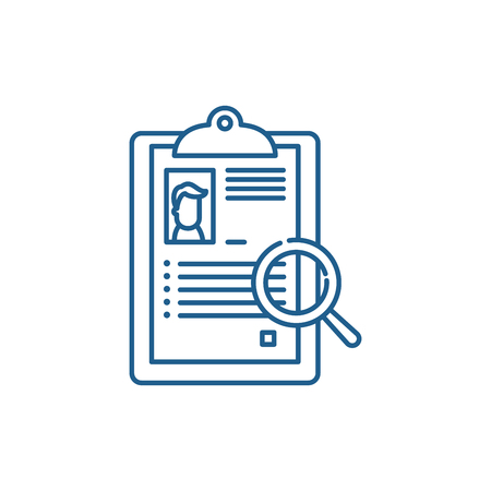 Summary line concept icon. Summary flat  vector website sign, outline symbol, illustration.