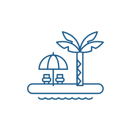 Summer holiday line concept icon. Summer holiday flat  vector website sign, outline symbol, illustration.