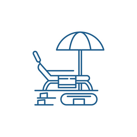 Summer rest line concept icon. Summer rest flat  vector website sign, outline symbol, illustration.  イラスト・ベクター素材