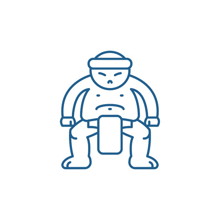 Sumo line concept icon. Sumo flat  vector website sign, outline symbol, illustration.