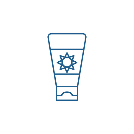 Sunscreen cream line concept icon. Sunscreen cream flat  vector website sign, outline symbol, illustration.