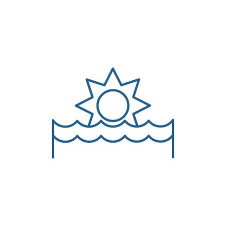 Sunset line concept icon. Sunset flat  vector website sign, outline symbol, illustration. Иллюстрация