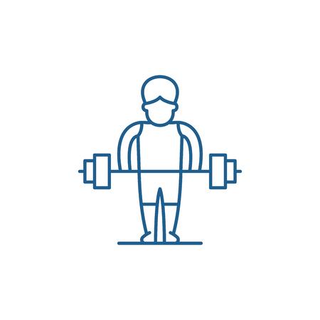 Strong man line concept icon. Strong man flat  vector website sign, outline symbol, illustration.
