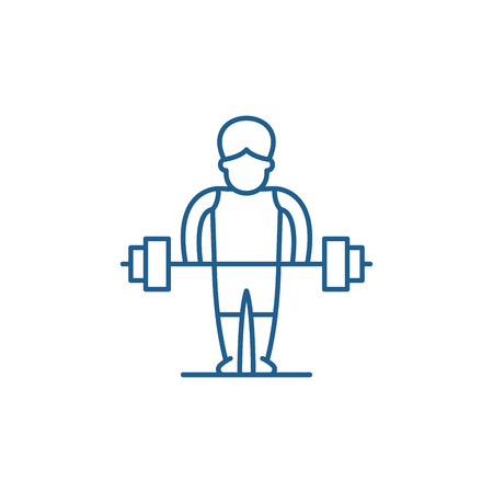 Strong man line concept icon. Strong man flat  vector website sign, outline symbol, illustration.