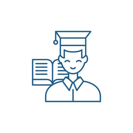 Student line concept icon. Student flat  vector website sign, outline symbol, illustration.