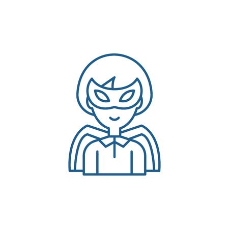 Super hero line concept icon. Super hero flat  vector website sign, outline symbol, illustration.