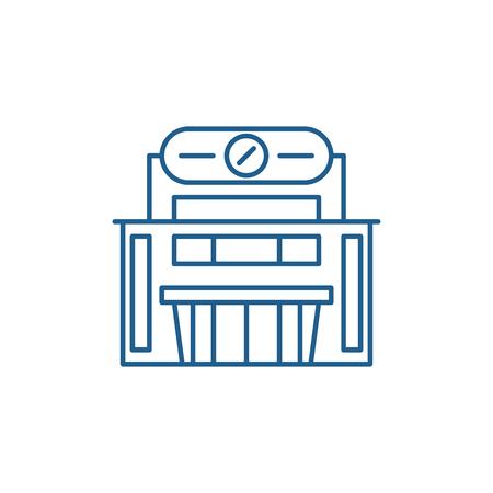 Supermarket line concept icon. Supermarket flat  vector website sign, outline symbol, illustration. Stock Vector - 120117639
