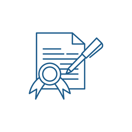Supply contract line concept icon. Supply contract flat  vector website sign, outline symbol, illustration.