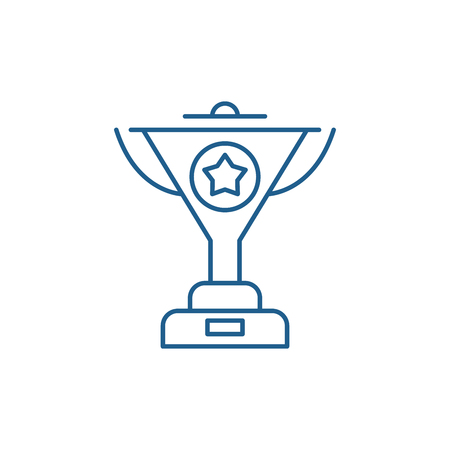 Successful achievement line concept icon. Successful achievement flat  vector website sign, outline symbol, illustration.