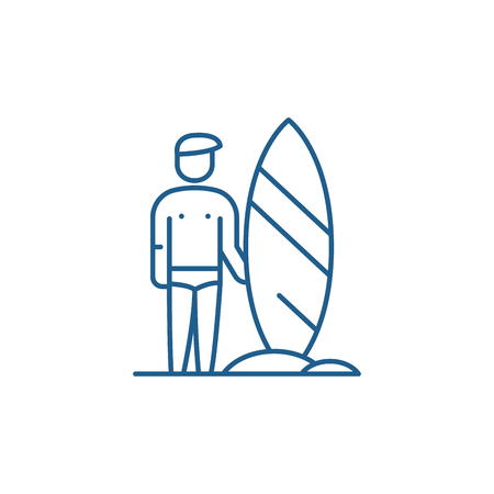 Surfer line concept icon. Surfer flat  vector website sign, outline symbol, illustration.