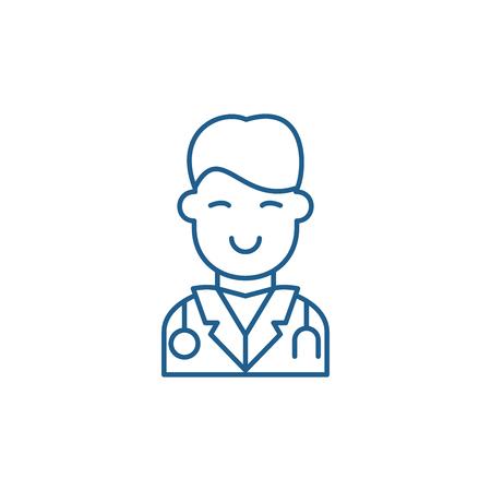 Icône de concept de ligne de chirurgien. Signe de site Web vecteur télévision chirurgien, symbole du contour, illustration.