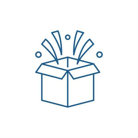 Surprise in box line concept icon. Surprise in box flat  vector website sign, outline symbol, illustration.