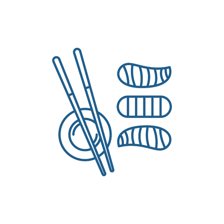 Sushi line concept icon. Sushi flat  vector website sign, outline symbol, illustration.