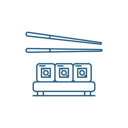 Sushi restaurant line concept icon. Sushi restaurant flat  vector website sign, outline symbol, illustration. Stock Vector - 120117837