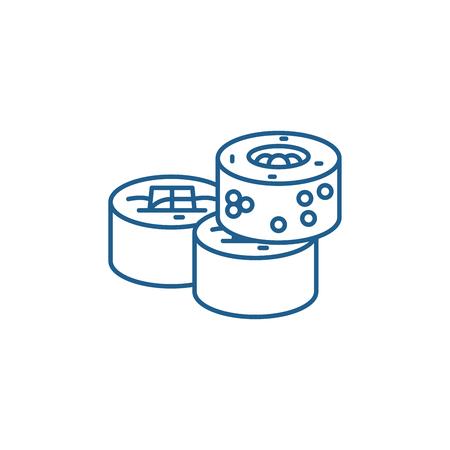 Sushi rolls line concept icon. Sushi rolls flat  vector website sign, outline symbol, illustration.