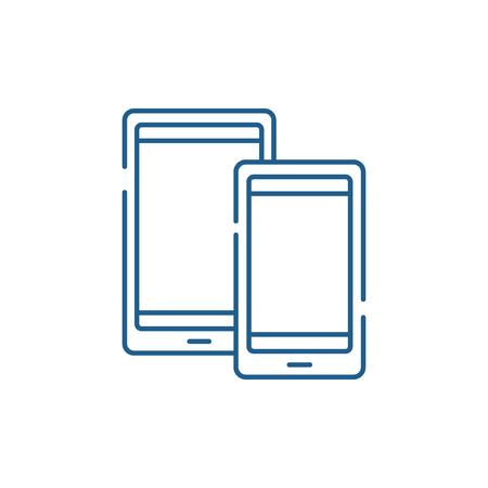Tablets line concept icon. Tablets flat  vector website sign, outline symbol, illustration.