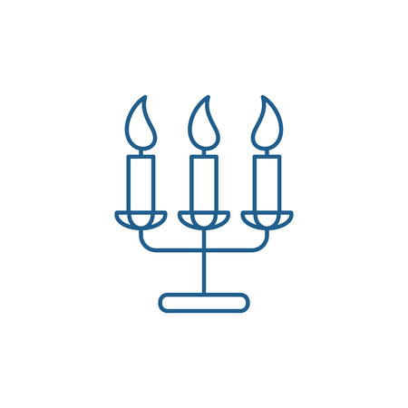 Tasty candles line concept icon. Tasty candles flat  vector website sign, outline symbol, illustration.