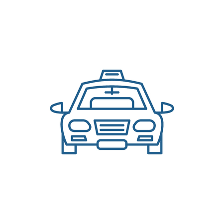 Taxi line concept icon. Taxi flat  vector website sign, outline symbol, illustration. Illustration