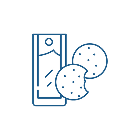 Tea with cookies line concept icon. Tea with cookies flat  vector website sign, outline symbol, illustration. Illustration