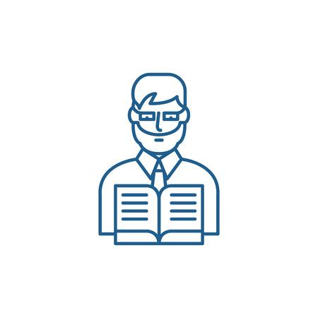 Teacher line concept icon. Teacher flat  vector website sign, outline symbol, illustration. Ilustração