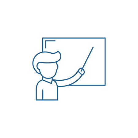 Teacher at the school board line concept icon. Teacher at the school board flat  vector website sign, outline symbol, illustration.
