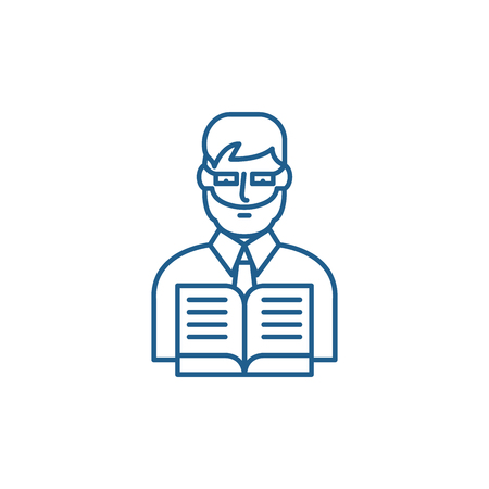 Teacher in school line concept icon. Teacher in school flat  vector website sign, outline symbol, illustration.  イラスト・ベクター素材