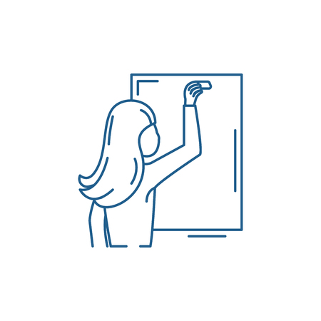 Teacher writes in chalk on a blackboard line concept icon. Teacher writes in chalk on a blackboard flat  vector website sign, outline symbol, illustration.  イラスト・ベクター素材