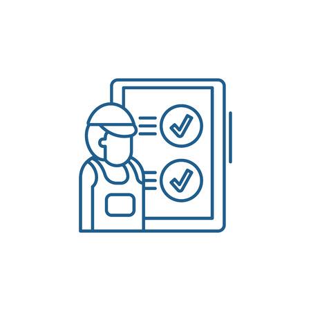 Technical inspection line concept icon. Technical inspection flat  vector website sign, outline symbol, illustration. Banco de Imagens - 120117863