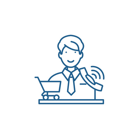 Telemarketing line concept icon. Telemarketing flat  vector website sign, outline symbol, illustration. 일러스트
