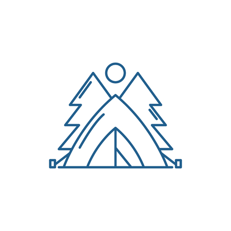 Tent in the forest line concept icon. Tent in the forest flat  vector website sign, outline symbol, illustration.