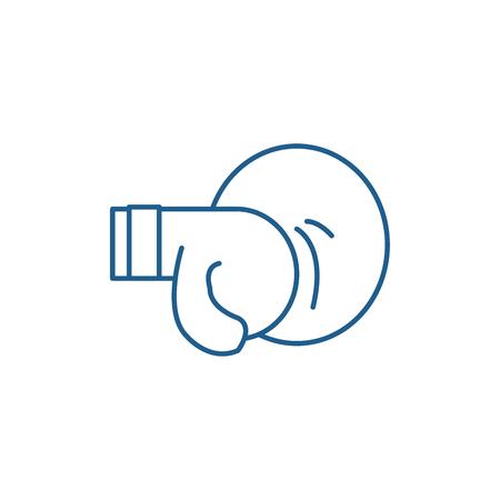 Thai boxing line concept icon. Thai boxing flat  vector website sign, outline symbol, illustration. Illustration