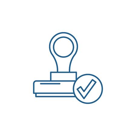 L'icône de concept de ligne de confirmation. Le signe de site Web de vecteur plat de confirmation, symbole de contour, illustration.