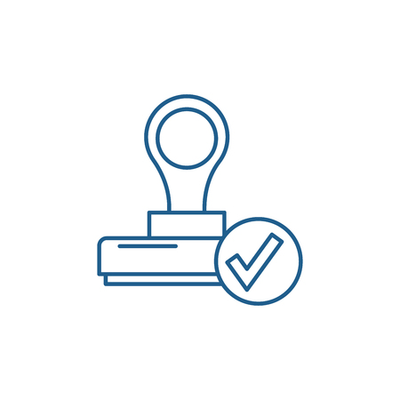 The confirmation line concept icon. The confirmation flat  vector website sign, outline symbol, illustration.
