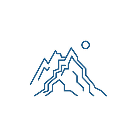 THE MOUNTAINS line concept icon. THE MOUNTAINS flat  vector website sign, outline symbol, illustration. Ilustração