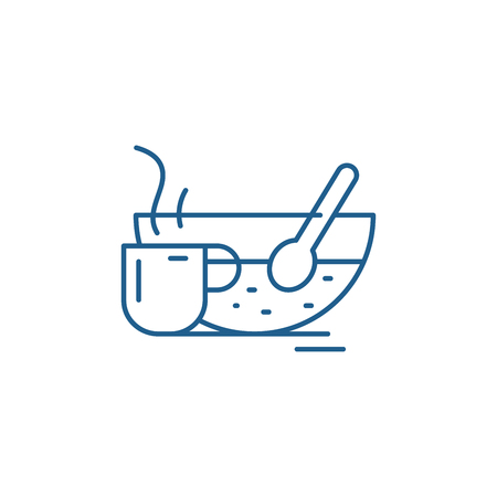 Therapeutic drink line concept icon. Therapeutic drink flat  vector website sign, outline symbol, illustration.