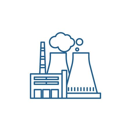 Icono de concepto de línea de planta de energía térmica. Planta de energía térmica sitio web vector plano signo, símbolo de contorno, ilustración.