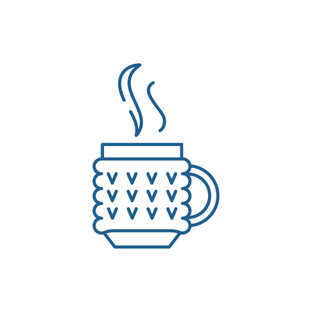 Thermo mug line concept icon. Thermo mug flat  vector website sign, outline symbol, illustration.