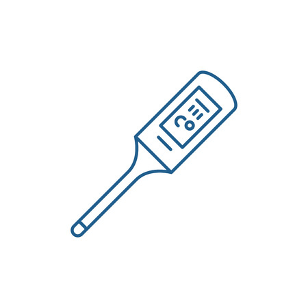 Thermometer line concept icon. Thermometer flat  vector website sign, outline symbol, illustration. Illustration