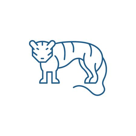 Tiger line concept icon. Tiger flat  vector website sign, outline symbol, illustration.
